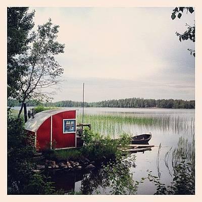 Music Photograph - #nydala #nydalasjön #rödstuga #sjö by Carina Ro