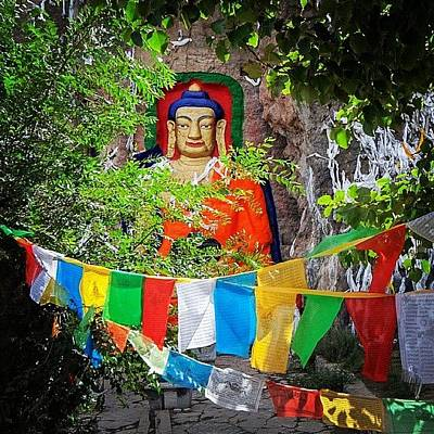 Colourful Photograph - Nyetang Buddha And Prayer Flags by Hitendra SINKAR