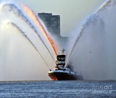 4th Of July 2013 Photograph - Nyfd Boat Red White And Blue Water Spray  I by Lilliana Mendez