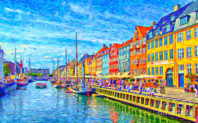 Port Town Digital Art - Nyhavn In Denmark Painting by Antony McAulay
