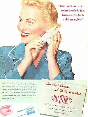Nylon Comb Advert From Dupont Art Print