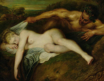 Zeus Painting - Nymph And Satyr by Jean Antoine Watteau
