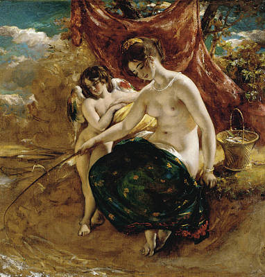 Angling Painting - Nymph Angling by William Etty