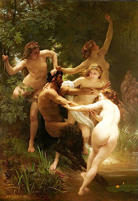 Field Grey Painting - Nymphs And Satyr by William-Adolphe Bouguereau