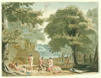 Clearing Drawing - Nymphs And Satyrs In A Landscape, Martinus Berkenboom by Martinus Berkenboom