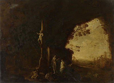 Nymphs In A Grotto With Ancient Ruins, Petrus Van Hattich Print by Litz Collection
