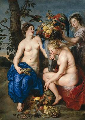 Frans Snyders Painting - Nymphs With Cornucopia by Frans Snyders