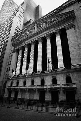Nyse New York Stock Exhange In Lights Of American Flag Wall Street Art Print by Joe Fox