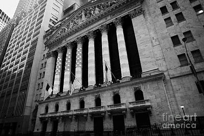 Illuminated Wall Decorations Photograph - Nyse New York Stock Exhange In Lights Of American Flag Wall Street New York by Joe Fox