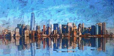Central Harlem Digital Art - N.y.skyline by Leonard  Te Nyenhuis