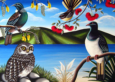 Nz Birds Art Print by Natasha Shackleton