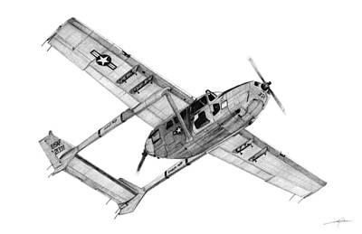 Vietnam War Drawing - O-2a Oscar Deuce by Dale Jackson