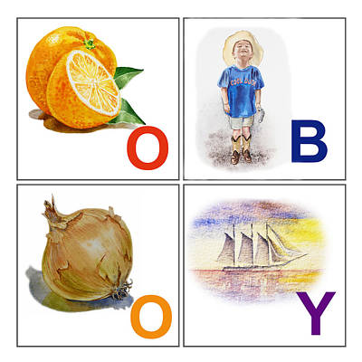 Alphabet Flash Cards Painting - O Boy Art Alphabet For Kids Room by Irina Sztukowski
