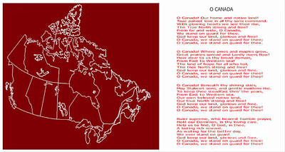 O Canada Lyrics And Map Art Print