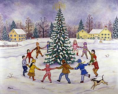 Puppy Painting - O' Christmas Tree by Linda Mears