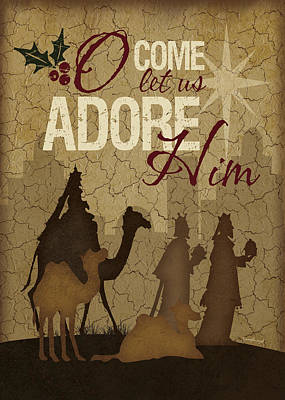Adore Painting - O Come Let Us Adore Him Wisemen by Jennifer Pugh