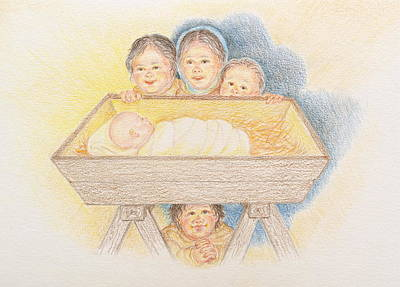 Drawing - O Come Little Children - Christmas Card by Michele Myers