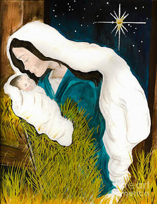 Painting - Mary And Baby -o Holy Night -birth Of Jesus by Jan Dappen