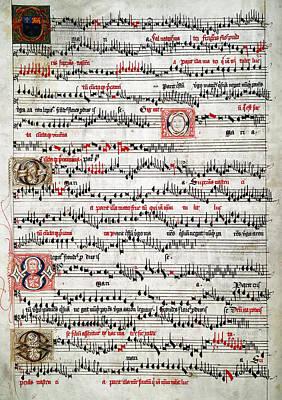 Old Sheet Music Photograph - O Maria Salvatoris Mater  C. 1490 by Daniel Hagerman