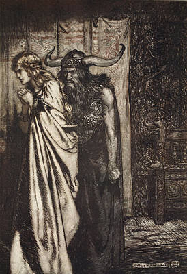 Valkyrie Drawing - O Wife Betrayed I Will Avenge by Arthur Rackham