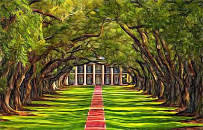 Oak Alley Plantation Photograph - Oak Alley - Paint 2 by Steve Harrington