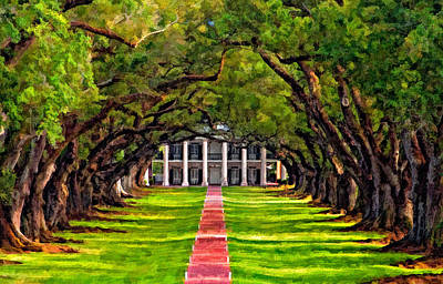 Live Oaks Digital Art - Oak Alley Paint Version by Steve Harrington
