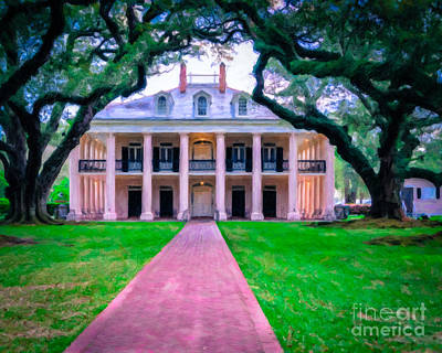 Photograph - Oak Alley Plantation - Oil by Kathleen K Parker