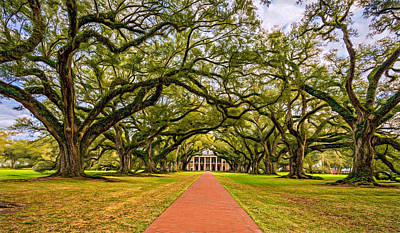 Mansion Digital Art - Oak Alley Plantation - Paint by Steve Harrington