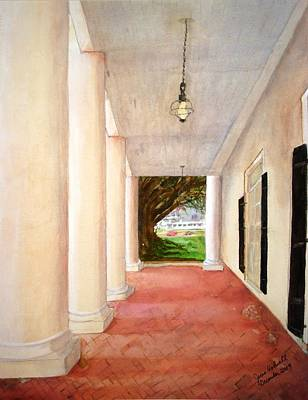 Oak Alley - Veranda View Of The Delta Queen Art Print by June Holwell