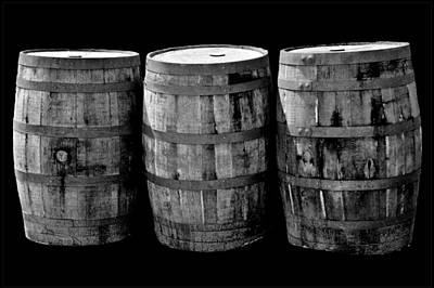 Photograph - Oak Barrels Bw On Bk by LeeAnn McLaneGoetz McLaneGoetzStudioLLCcom