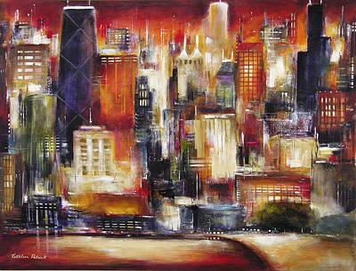 Oak Beach Skyline In Chicago Original by Kathleen Patrick