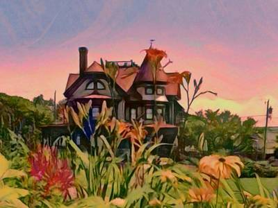 Digital Art - Oak Bluffs Victorian - Horizontal by Lyn Voytershark