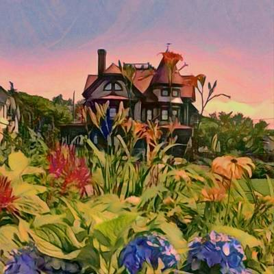 Painting - Oak Bluffs Victorian - Square by Lyn Voytershark