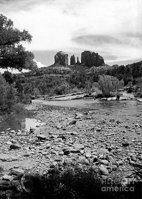 Photograph - Oak Creek And Cathedral Rock 1993 B W by Connie Fox