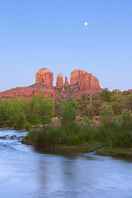 Oak Creek And Cathedral Rock Sunset/moonrise Art Print by Brian Knott - Forget Me Knott Photography