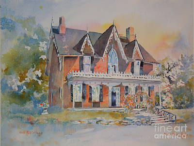 Oak Hill Cottage Art Print by Mary Haley-Rocks