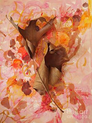 Dried Mixed Media - Oak Leaf Duet by Nancy Kane Chapman