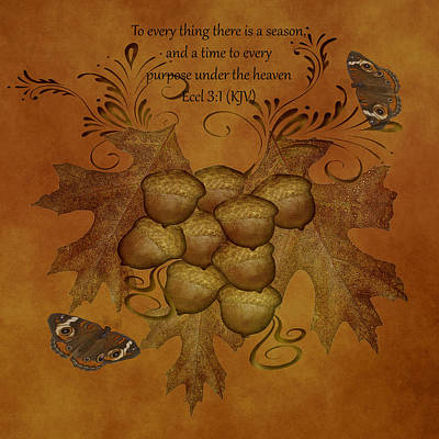 Digital Art - Oak Leaves And Acorns by TnBackroadsPhotos