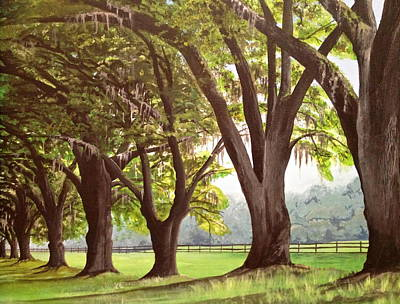 Southern Plantation Painting - Oak Umbrellas by Laura Parrish