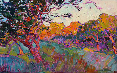 Print featuring the painting Oaken Light by Erin Hanson