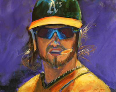 Outfielder Painting - Oakland Athletics Josh Reddick by Angie Villegas