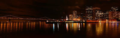 Photograph - Oakland Bay Bridge At Night by Abram House