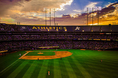 Sports Royalty-Free and Rights-Managed Images - Oakland Coliseum Sunset by Brandon McClintock