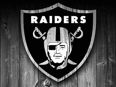 Oakland Raiders Barn Door Art Print by Dan Sproul