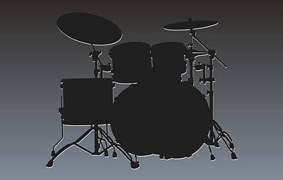Oakland Raiders Drum Set Print by Joe Hamilton