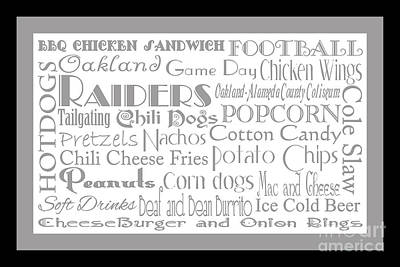 Digital Art - Oakland Raiders Game Day Food 2 by Andee Design