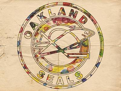 Hockey Painting - Oakland Seals Vintage Poster by Florian Rodarte