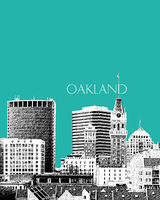 Pen Digital Art - Oakland Skyline 1 - Teal by DB Artist