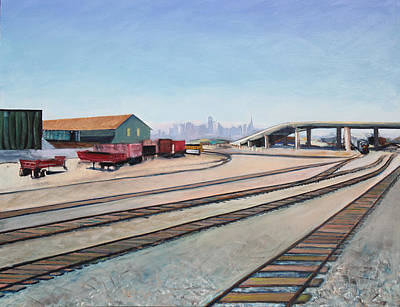 Art Print featuring the painting Oakland Train Tracks And San Francisco Skyline by Asha Carolyn Young