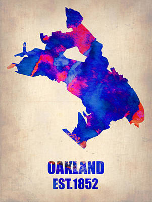 Modern Poster Painting - Oakland Watercolor Map by Naxart Studio